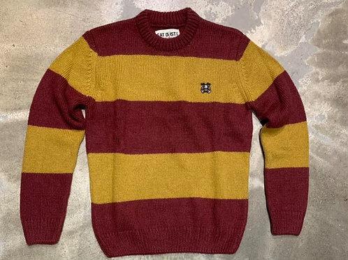 Knit Stripe Kid Mohair R-Neck sweater EAT DUST