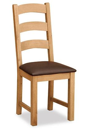 Oak 27L - Ladder Chair With Brown Pu