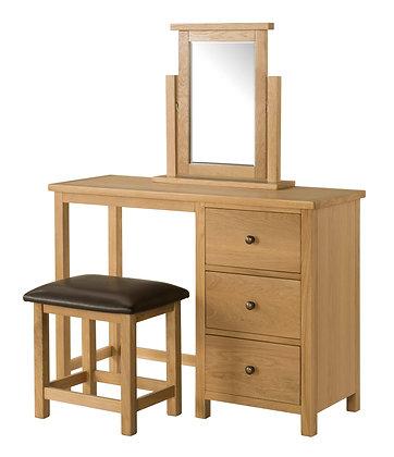 Oak 9 - Dressing Table, Stool & Mirror