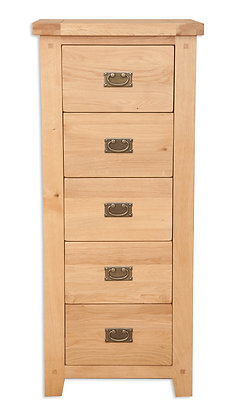 Natural Oak - 5 Drawer Tall Chest