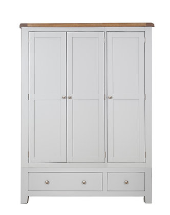 Grey & Oak - 3 Door 2 Drawer Wardrobe
