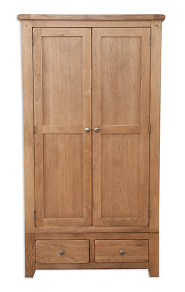 Country Oak - 2 Door 2 Drawer Wardrobe