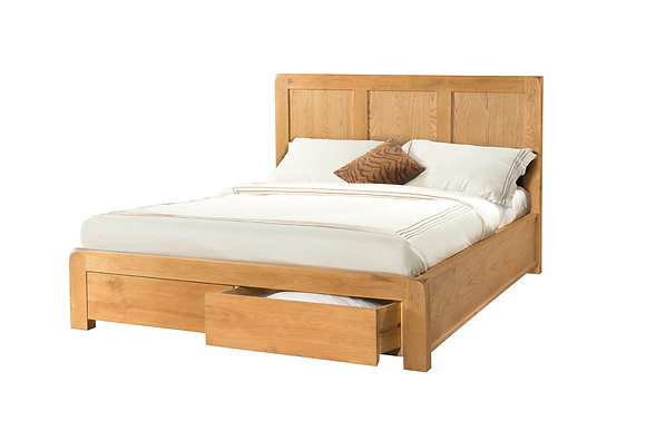 Oak 6 - 5' Bed With 2 Storage Drawers