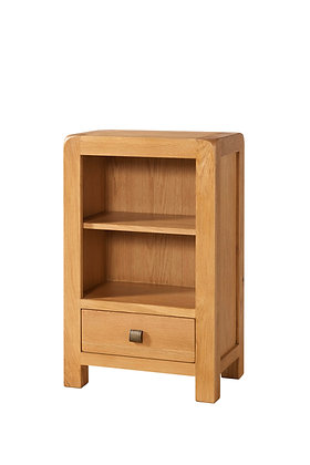 Oak 6 - Low Bookcase With 1 Drawer