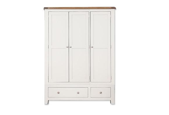 Arctic White & Oak - 3 Door 2 Drawer Wardrobe