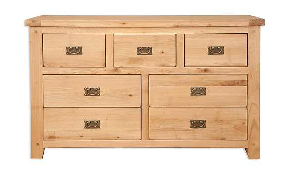 Natural Oak - 7 Drawer Wide Chest