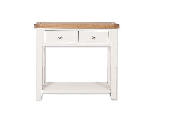 Arctic White & Oak - 2 Drawer Console Table