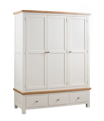 Oak 4 Ivory - Triple Wardrobe With 3 Drawers