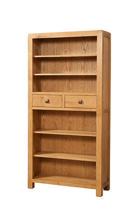 Oak 6 - Tall Bookcase With 2 Drawers