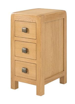 Oak 6 - Compact 3 Drawer Bedside
