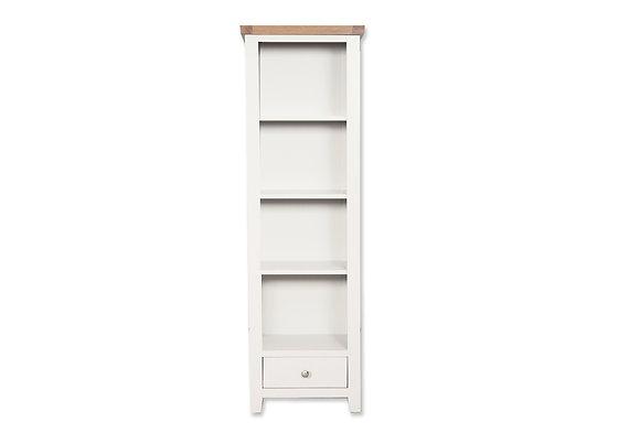 Arctic White & Oak - Slim Bookcase