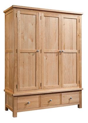 Oak 4 - Triple Wardrobe With 3 Drawers