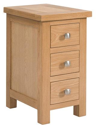 Oak 4 - Compact 3 Drawer Bedside
