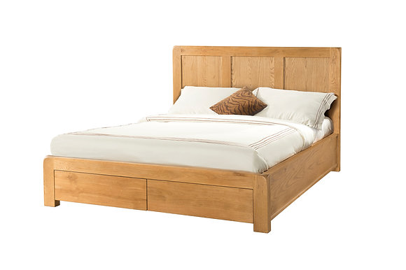 "Oak 6 - 4'6"" Bed With 2 Storage Drawers"