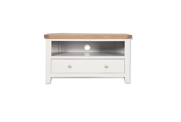 Arctic White & Oak - Corner Tv Cabinet