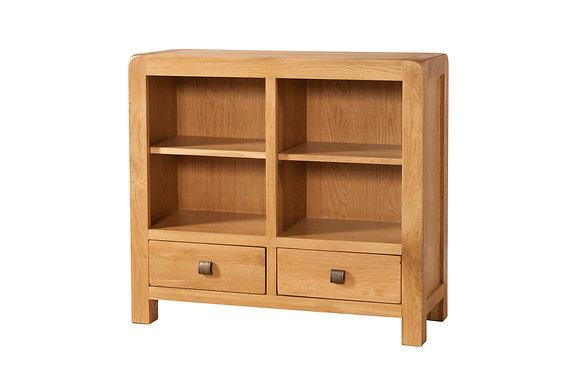 Oak 6 - Low Bookcase 2 Drawers