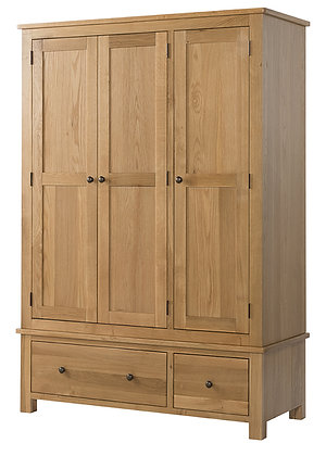Oak 9 - Triple Wardrobe With 2 Drawers