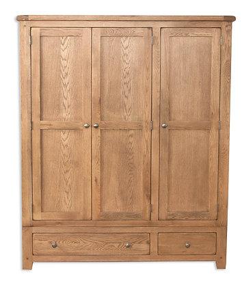 Country Oak - 3 Door 2 Drawer Wardrobe