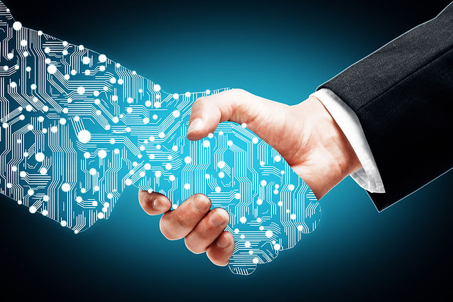 Businessman shaking digital partners han