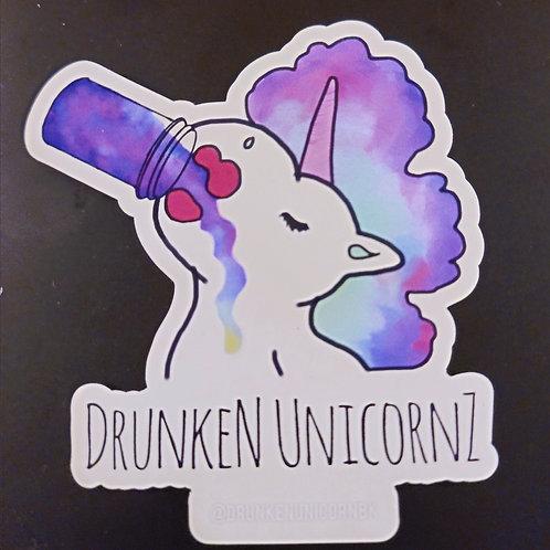 Transparent Standard Drunken Unicornz Stickers