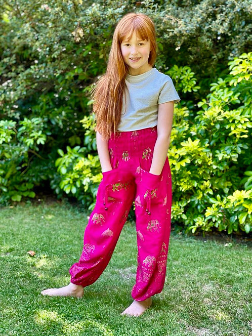 Kids Cotton Genie Trousers (Animal Patterned)