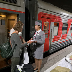 Boarding the train to Perm in Moscow