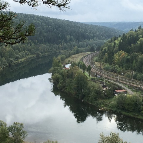The Trans-Siberian railway line along the Sylva River