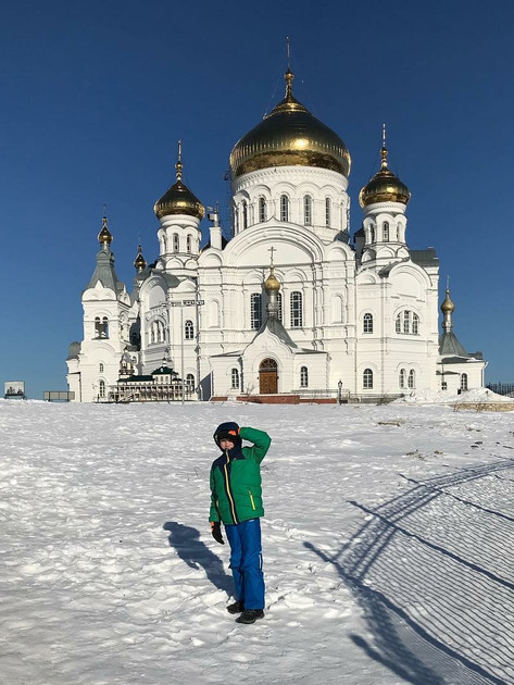 Kiril Hewitt outside the Belogorsky Monastery and Church