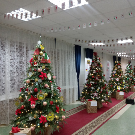 Christmas trees with decorations from Perm's twin towns