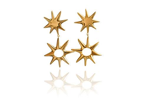 Starlight Yellow Gold Drop Stud Earrings