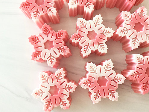Holiday Peppermint Snowflakes Handcrafted Soap