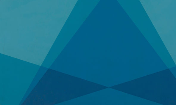 Various shades of flat blue colour overlap to create hard-edge geometric forms.