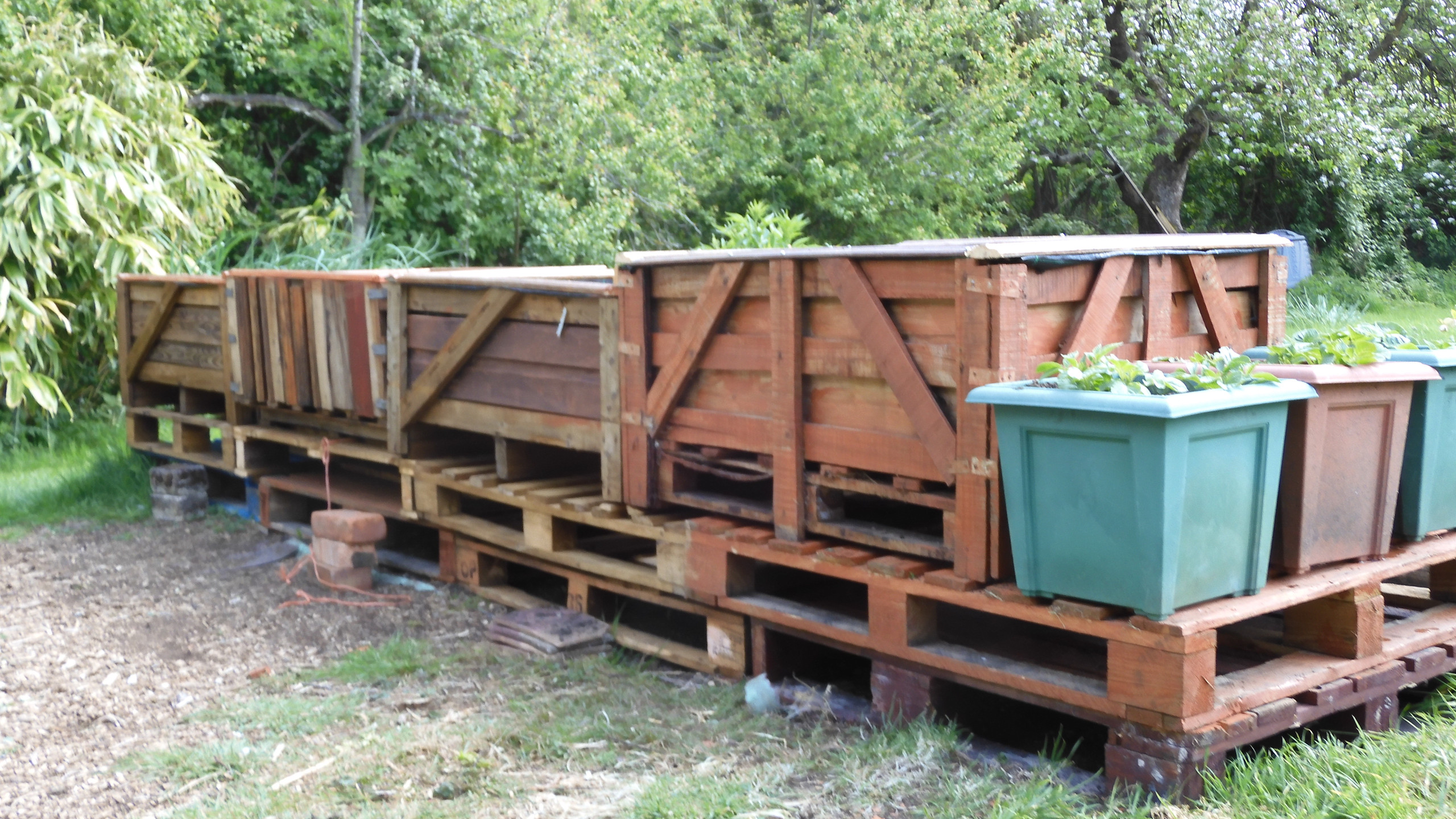 Crates on pallets