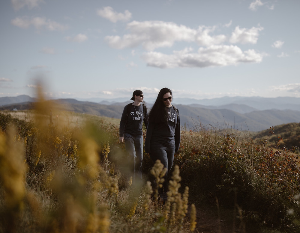 couple hiking on their elopement in the smoky mountains