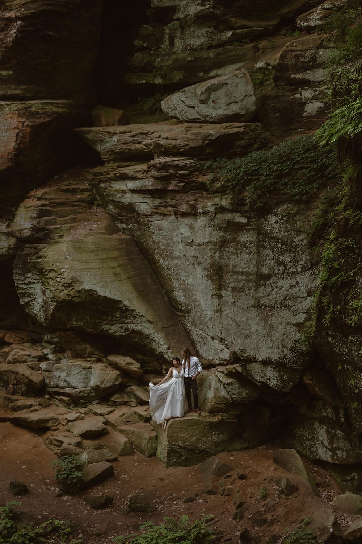 Couple eloping in Hocking Hills Ohio
