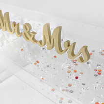 GOLD Mr & Mrs sign and Gold Crystal Candle holders