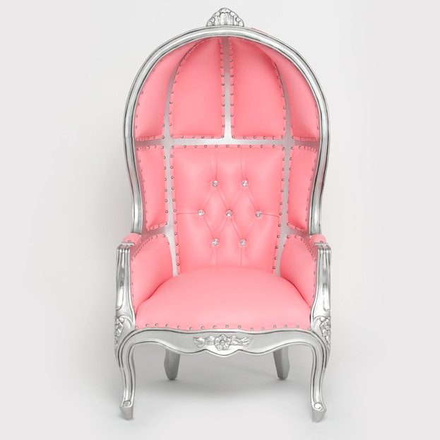 Pink w/ Silver Trim Balloon Childrents Throne