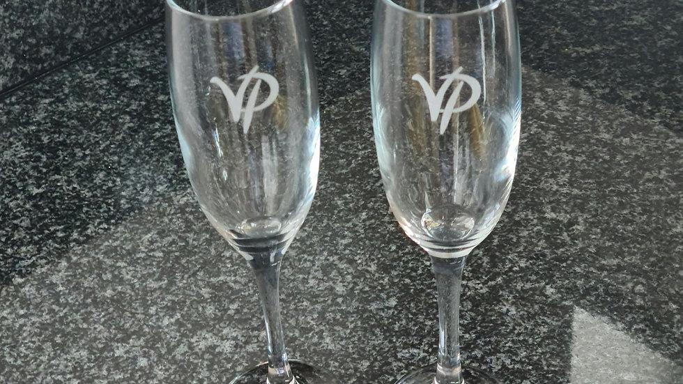 VP Champagne flutes (pair)