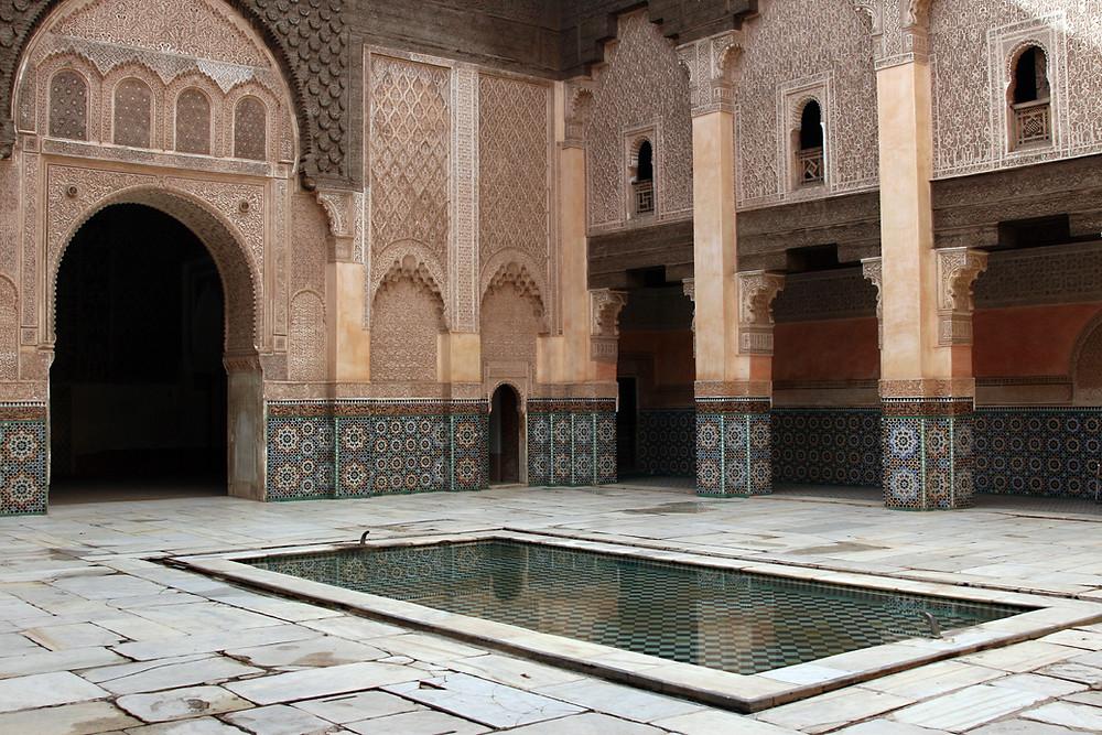 Definition of a Moroccan Moorish courtyard or riad