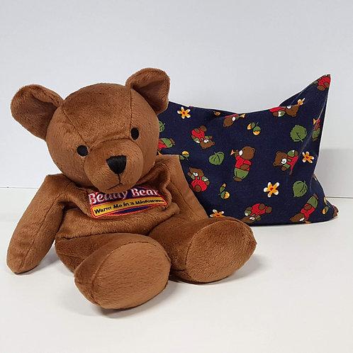 Warmies Beddy Bear mit blauem Hirse-/ Buchweizen-Kissen