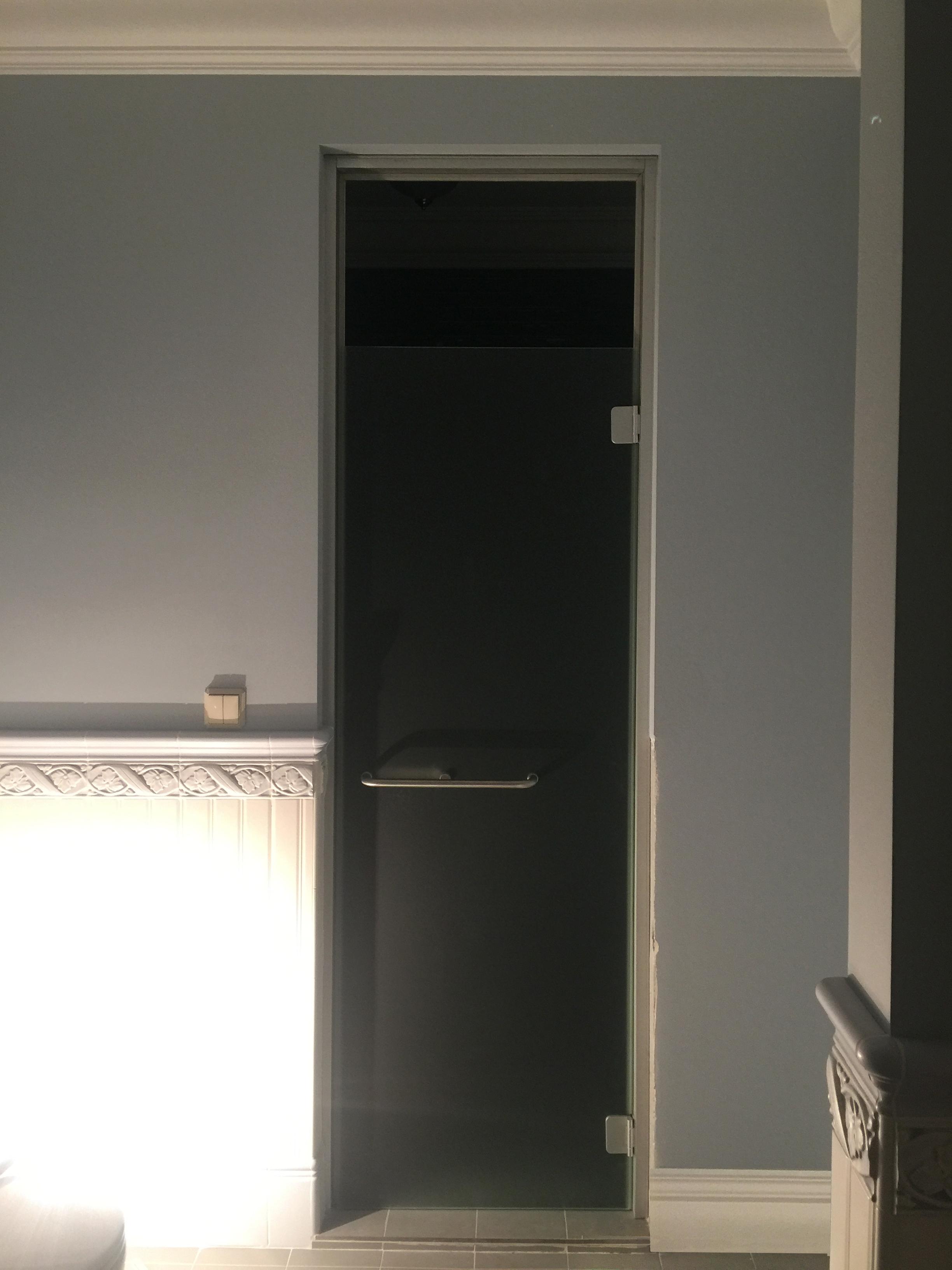 банная стеклянная дверь с коробкой