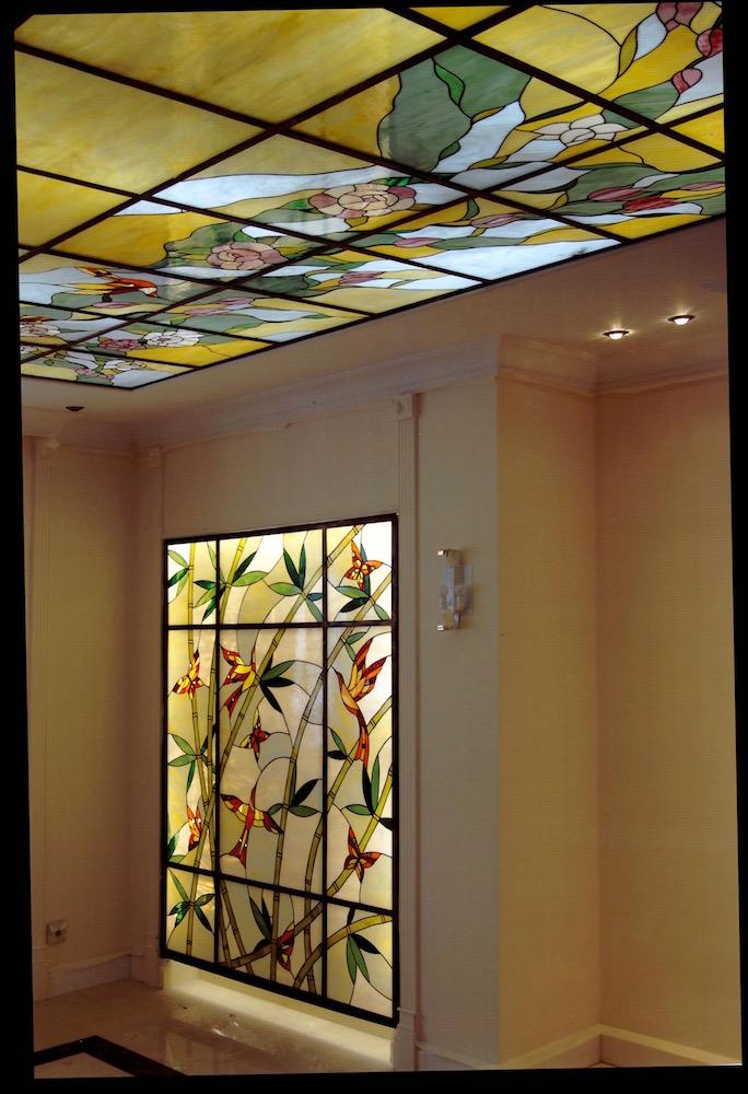 витраж потолок  Цветочная тематика