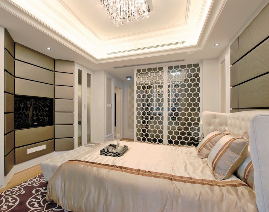 декоративная перегородка в спальню со стеклом