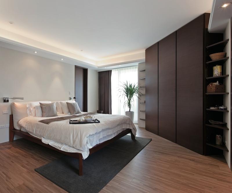 Угловой шкаф с плоским фасадом шпон
