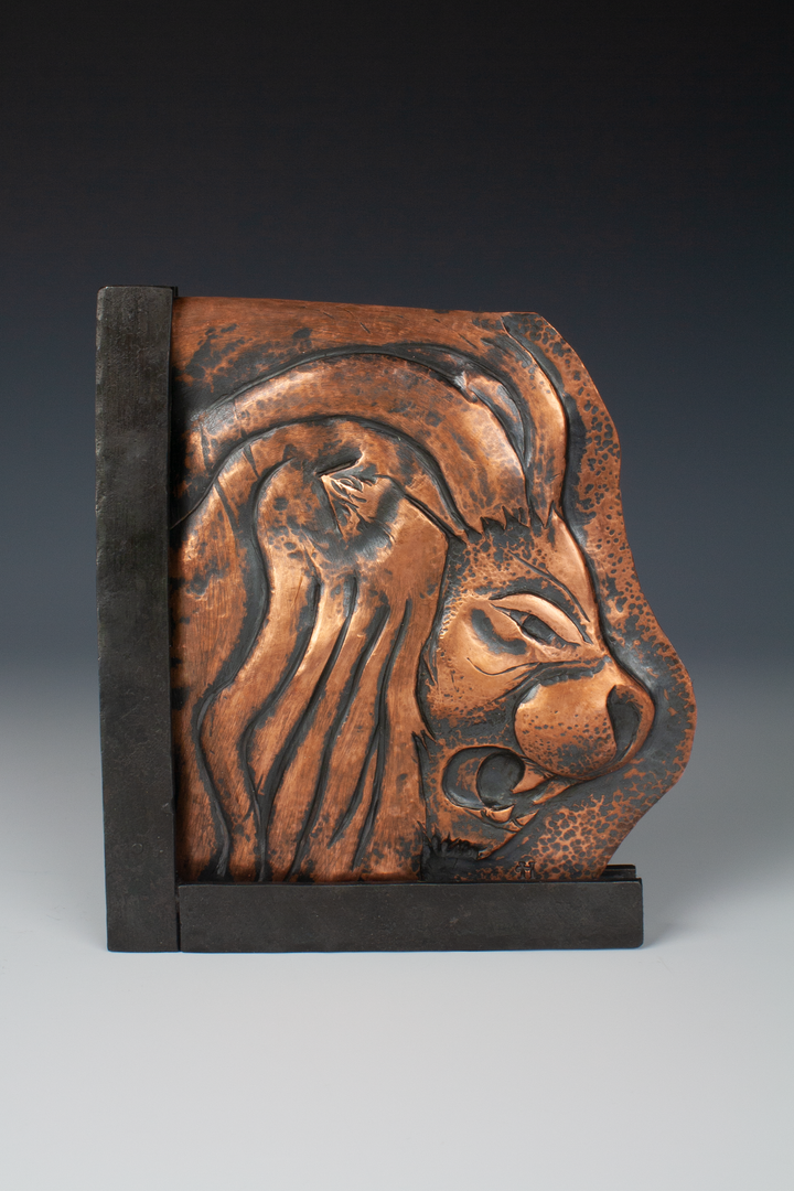 Repousse Lion with Steel Frame