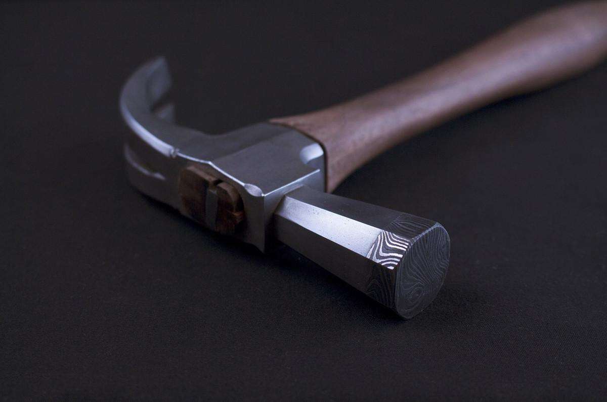 Damascus Faced Carpenter's Hammer