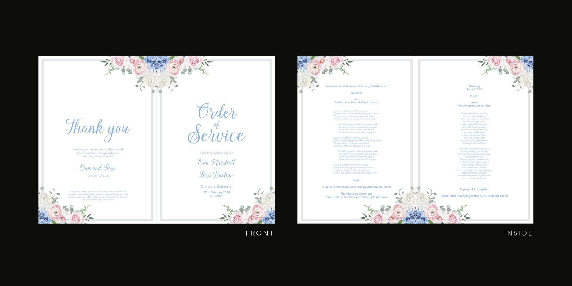 Order of Service Pink & Blue Flowers