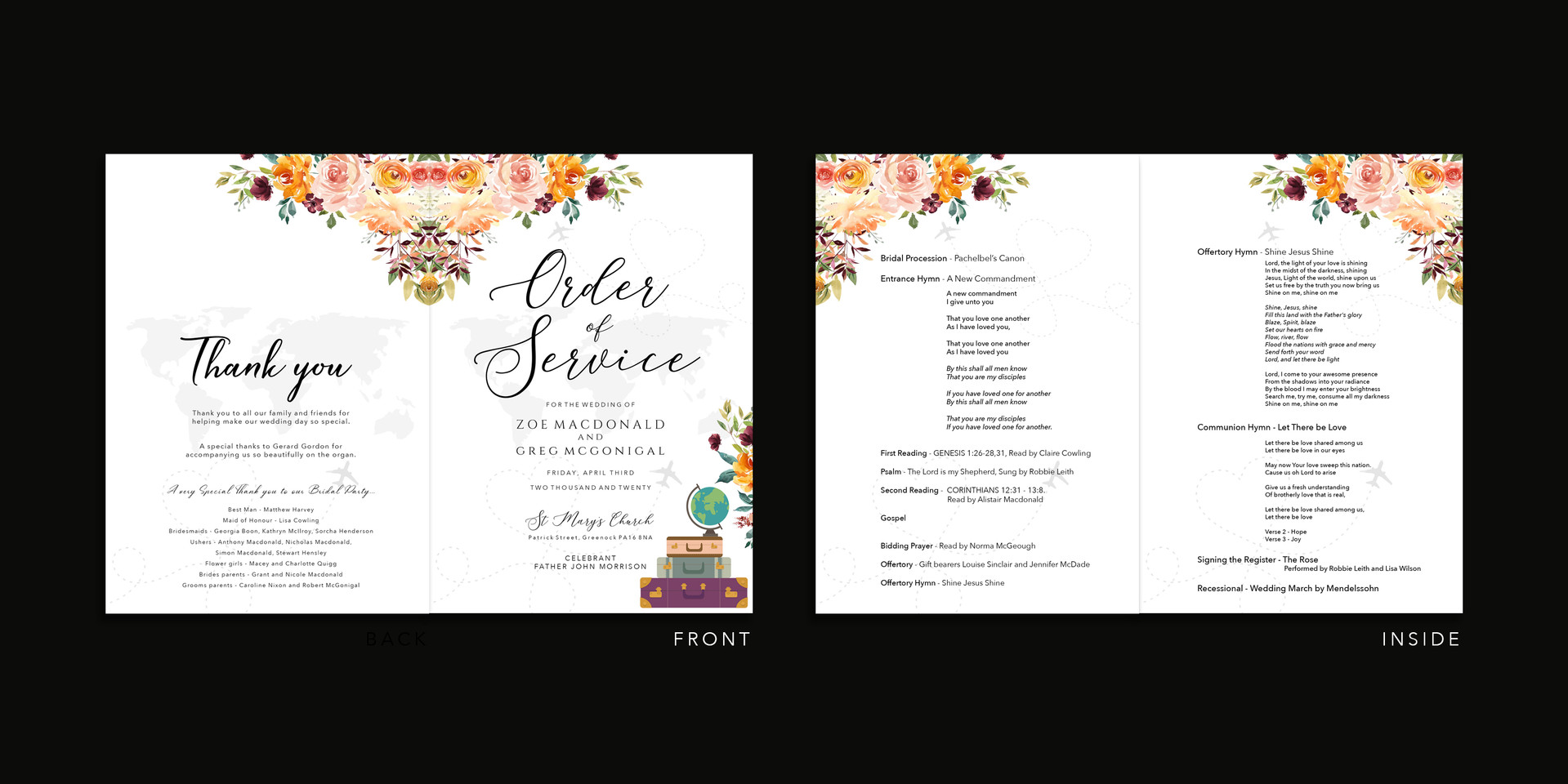 Order of Service Travel Theme