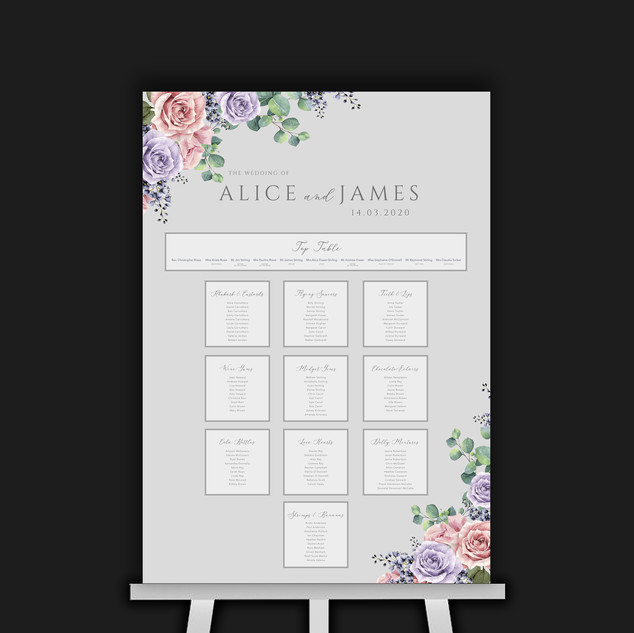 Pink & Lavender Flowers Table Plan