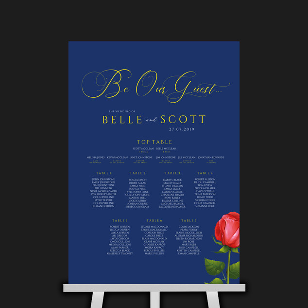 Beauty & The Beast Table Plan